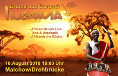 Ingoma - African Drums, Percussion aus Burundi live auf dem MS Müritz über den Mecklenburgischen Oberseen ab der Drehbrücke in dem Inselstädtchen Malchow oder Plau am See
